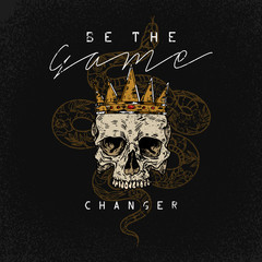 Be the game changer slogan. Snake with skull.Rock and roll girl patch. Typography graphic print, fashion drawing for t-shirts .Vector stickers,print, patches vintage