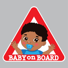 Baby Boy On Board Bumper Sticker Vector Illustration. Baby On Board Color Sign.