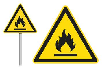 Warnung vor leicht entflammbaren Stoffen