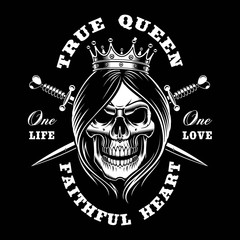 Queen skull, vector illustration.