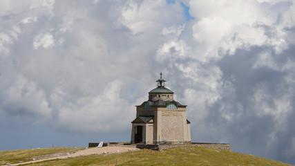 Elisabethkirchlein Schneeberg Austria on a partly cloudy day