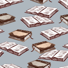 Seamless background of the old printed books