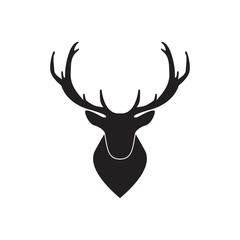 Vector illustration of silhouette head deer