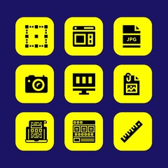 Web Design vector icon set. screen, photo camera, jpg and image