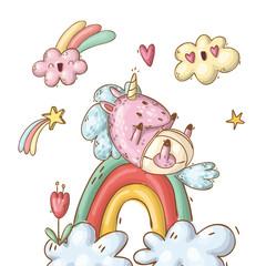 baby unicorn on a rainbow