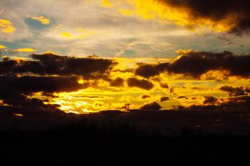 Beautiful sky twilight time sunset clouds orange blue yellow mood peace calm peaceful landscape