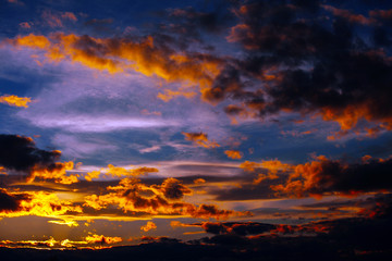 Beautiful sky twilight time sunset clouds orange blue yellow mood peace calm peaceful landscape