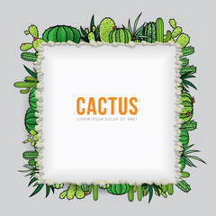 Cactus frame design with text. Vector illustration of background with space for design