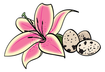 Oriental Lily and Quail Eggs