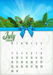 Calendar July 2018 with tropical concept. Vector Illustration