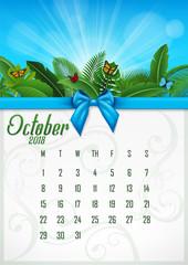 Calendar October 2018 with tropical concept. Vector Illustration