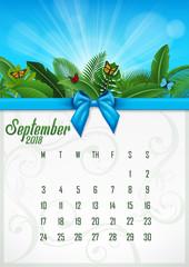 Calendar September 2018 with tropical concept. Vector Illustration