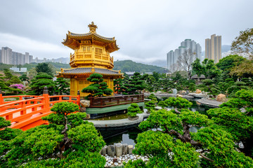 Pagoda style Chinese architecture Perfection in Nan Lian Garden, Hong Kong, China.