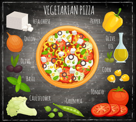 The recipe for a vegetarian pizza. Vector illustration. Pizza with vegetables.