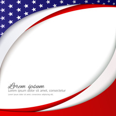 Abstract patriotic background with stars and flowing wavy lines of colors of the national flag of the USA for the holidays Independence Day President's Day Labor Day Element of card design Vector
