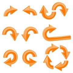 Orange arrows. 3d shiny icons set