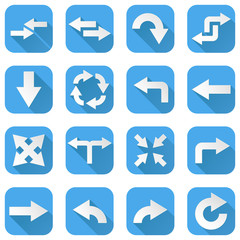 Arrows set. Collection of blue icons with web symbols
