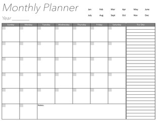 Blank Monthly Planner Page
