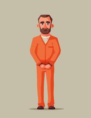 Prisoner in prison. Character design. Cartoon illustration