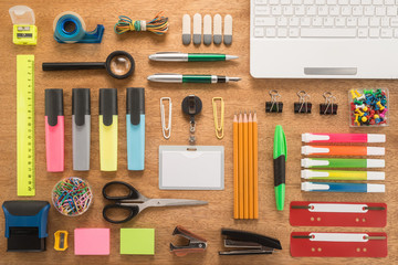 School office supplies on a desk