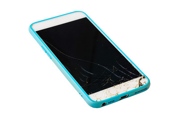 Smartphone broken screen isolated on white background.