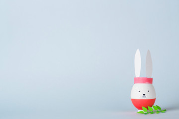 egg in the form of a bunny handmade. a lot of copy space. concept Easter