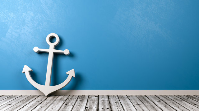 Naval Anchor Symbol on Wooden Floor