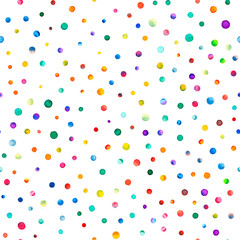 Watercolor confetti seamless pattern. Hand painted tempting circles. Watercolor confetti circles. White scattered circles pattern. 238.