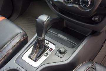Automatic gear stick inside modern car