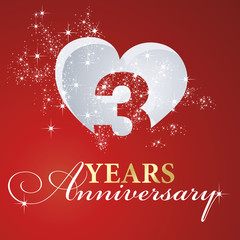 3 years anniversary firework heart red greeting card icon logo