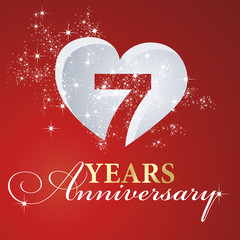 7 years anniversary firework heart red greeting card icon logo