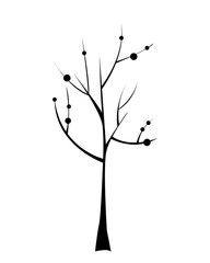 Black tree icon. Doodle vector illustration