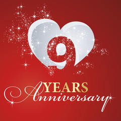 9 years anniversary firework heart red greeting card icon logo