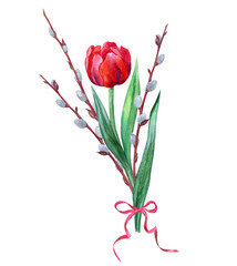 Bouquet with tulip and willow branches. Easter bouquet, watercolor illustration on white background, isolated.