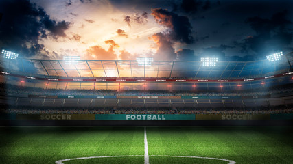 empty soccer stadium in light rays at night 3d illustration
