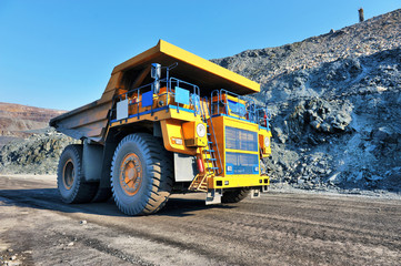 heavy-duty dump truck with iron ore