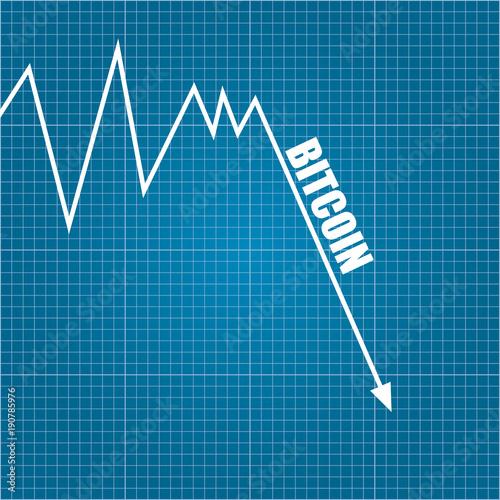 Vector Bitcoin Market Crash Graph On Blueprint Background. Bitcoin Hype  Concept Vector Illusrtation With Blank