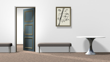 Inerior with a picture of painted bamboo in frame on a white wall, round table, two backless upholstered benches, floor with crackle pattern, and open door. Horizontal 16:9 interior 3d render.