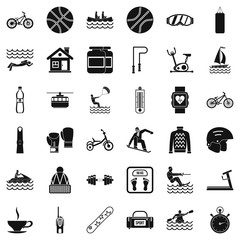 People health icons set, simple style