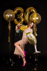 beautiful girl celebrates thirtieth anniversary