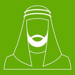 Arabic man in traditional muslim hat icon green