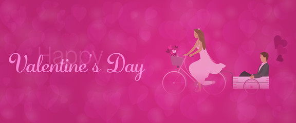 Valentine's day. Couple in love on bicycle with hearts and text: Happy Valentine's Day
