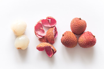 lychee  on the bright background.