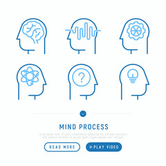 Mind process thin line icons set: intelligence, conflict, innovation, idea, exploration, education, logical thinking. Modern vector illustration, web page template.