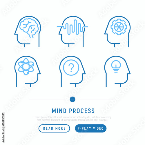 Mind process thin line icons set: intelligence, conflict, innovation ...