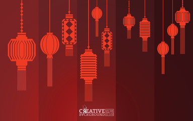 Red background vector illustrations with color gradations and geometric lines, adorned with silhouette lights to enliven the traditional culture of Chinese New Year events