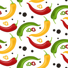 Hot Chili peppers pattern detailed colorful illustration template background