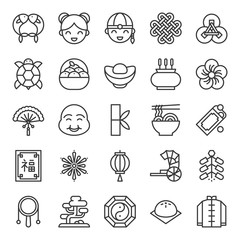 Big set of Chinese lunar new year outline icon