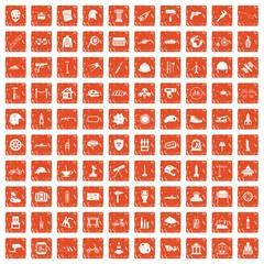 100 helmet icons set grunge orange
