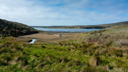Panorama  of an estuary at the Estero Trail in Point Reyes National Seashore, California, USA